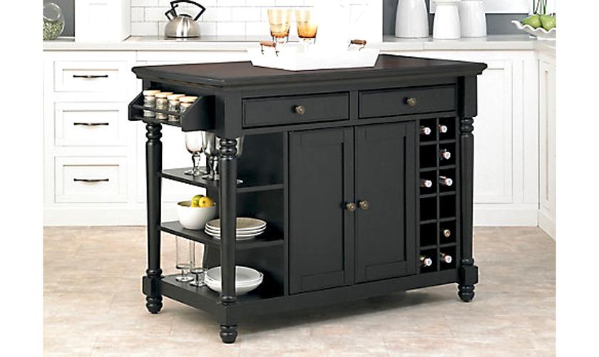tủ bếp di động màu đen