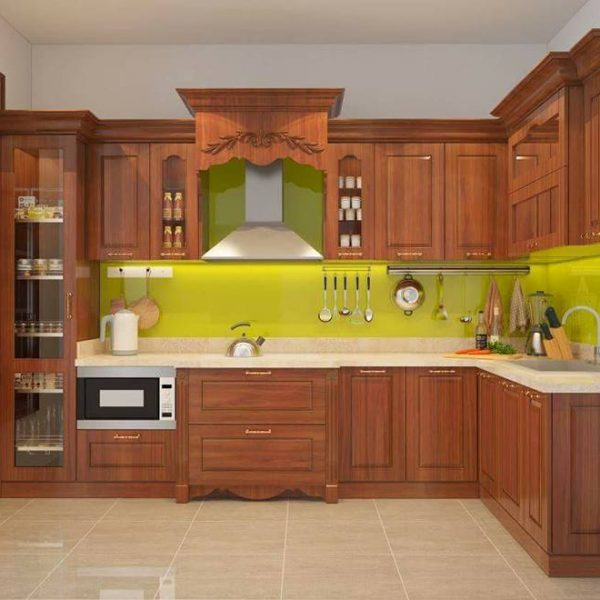 tủ bếp gỗ dổi